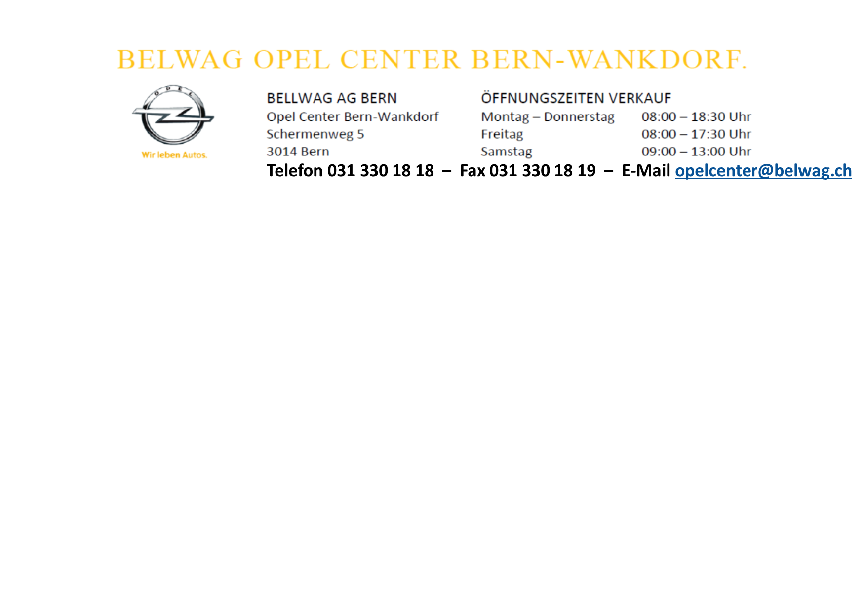 Belwag Opel Center Bern